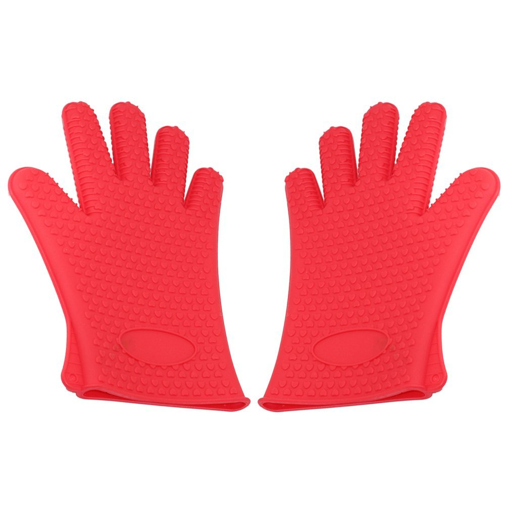 BESTOMZ Heat Resistant Gloves Silicone Oven Mitt with Cotton Protection for Grilling Cooking Baking (Red)