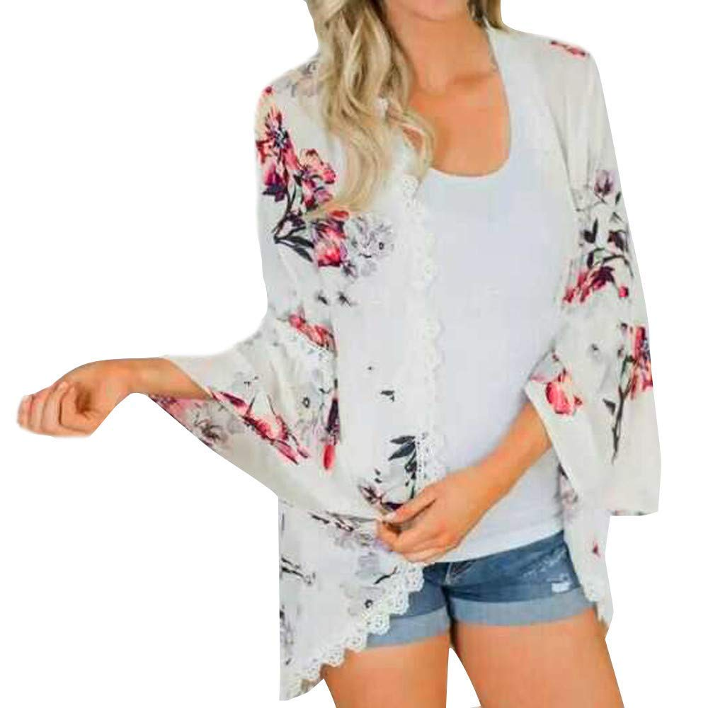 7676397722b Get Quotations · Women Chiffon Cardigan-Han Shi Flower Print Lace Long  Sleeve Kimono Cover Up Blouse