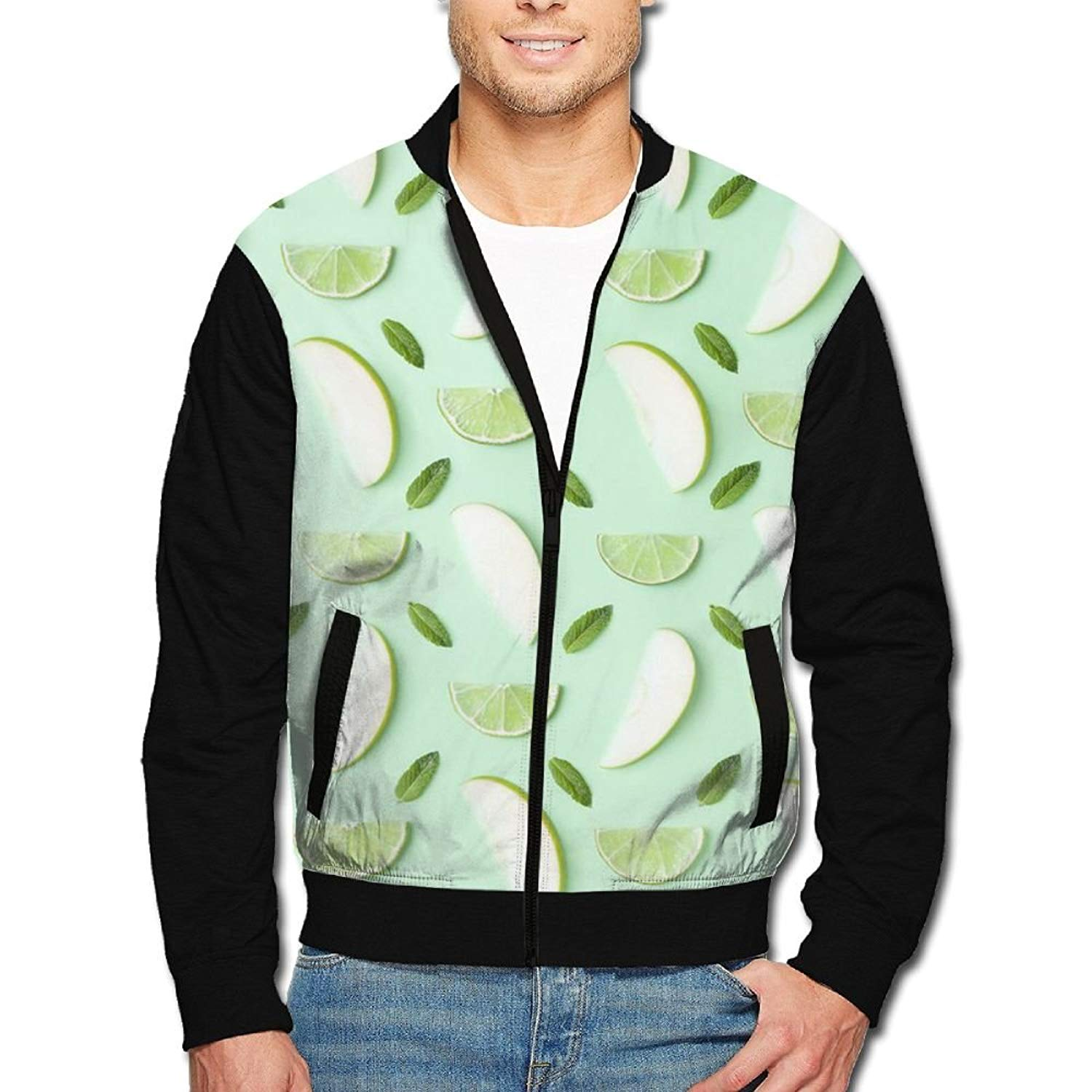 183924e6b753 Get Quotations · HTRHA Men s Zip Front Jacket Printing Pattern Green Lemon  Print Stand Collar Baseball Bomber Jacket