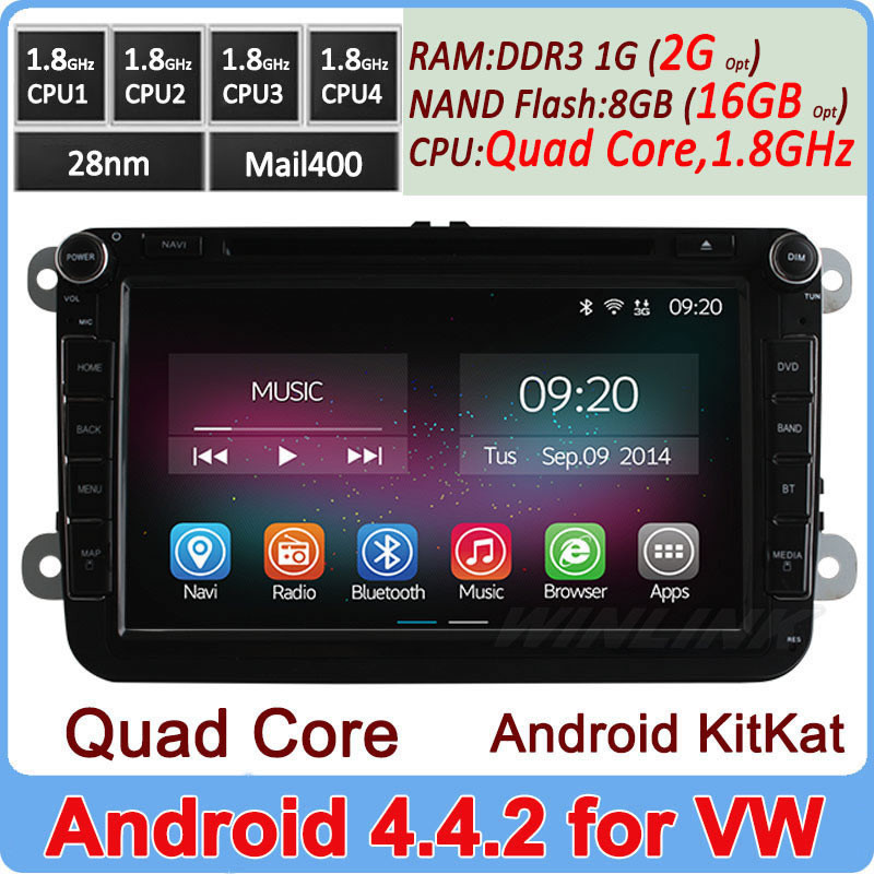 "Ownice 8"" Quad Core Cortex A9 1.6Ghz Android 4.4.2 vw polo bora golf radio gps HD 1024*600"