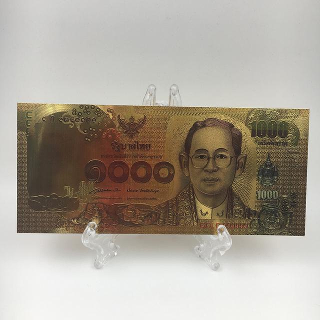 1000 Baht Couleur Thailande 24k Feuille D Or Billet De Banque