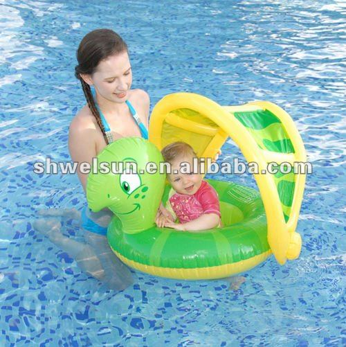 Inflatable turtle baby float with canopy