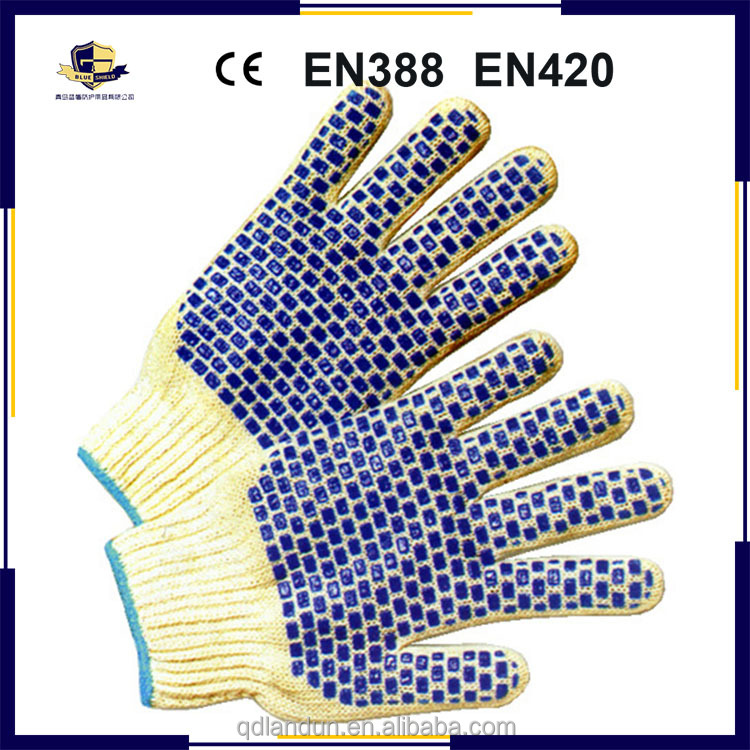 Cotton Polyester String Heavyweight PVC Blocks Knit Gloves