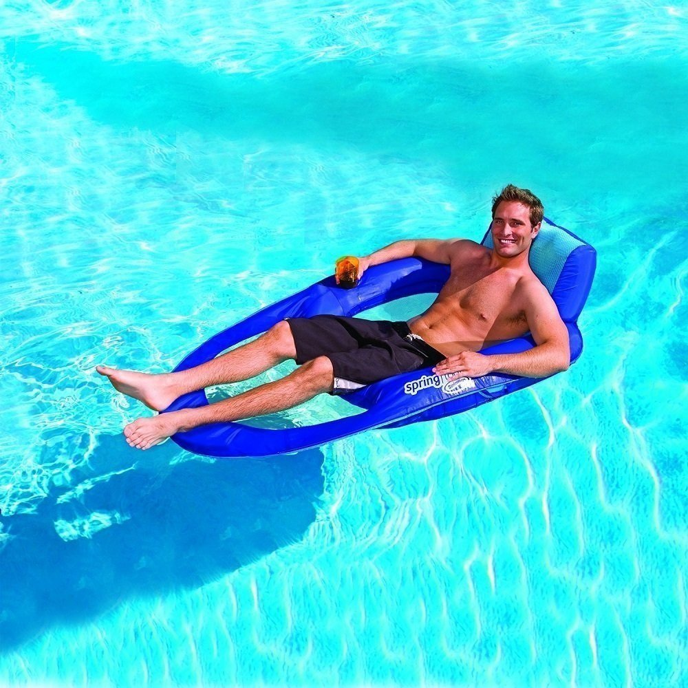 Inflatable Float XL Recliner Lounge Pool Chair Floating Hammock With Cup  Holder Outdoor Toys Ride
