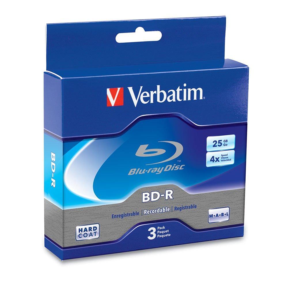 Verbatim 25GB 4x Blu-ray Single-Layer Recordable Disc BD-R, 3-Disc Jewel Case 96928