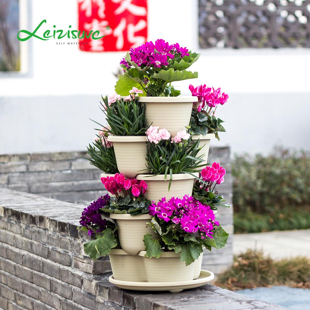 Stackable Stack Garden Planter Herb Tomota Pot Flower Pots Indoor