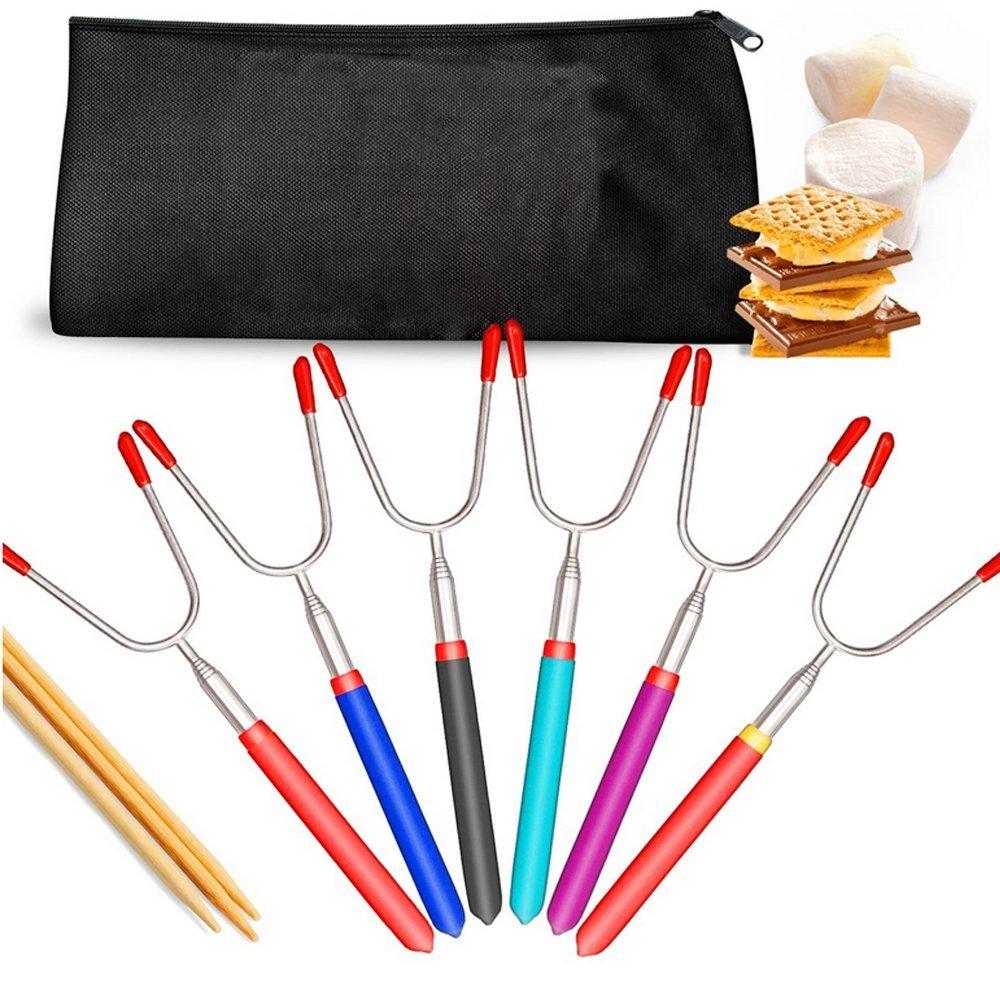 Marshmallow Roasting Sticks - Hot Dog Fork, Smores Sticks, Telescoping, BONUS Canvas Bag- SAFE FOR KIDS, camping cookware, SET OF 4