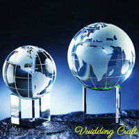 Cube Engraved Crystal Globe Paperweight on Base for Office Gifts
