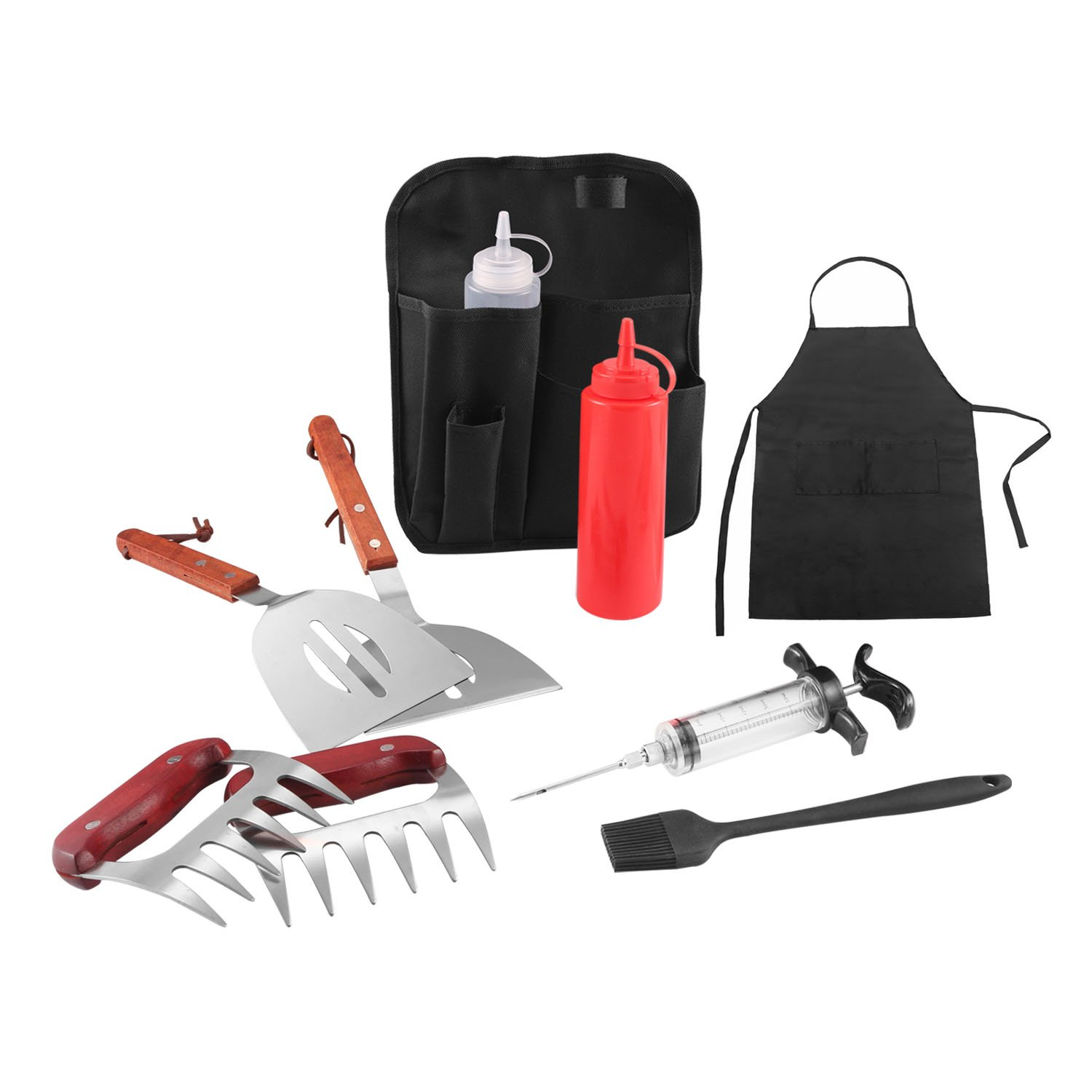 Doatry Professional Grill Griddle 10 Pcs BBQ Tool Set, Stainless Steel Spatulas and Meat Claws, Include Meat Injector, Waterproof Apron and Belt Bag