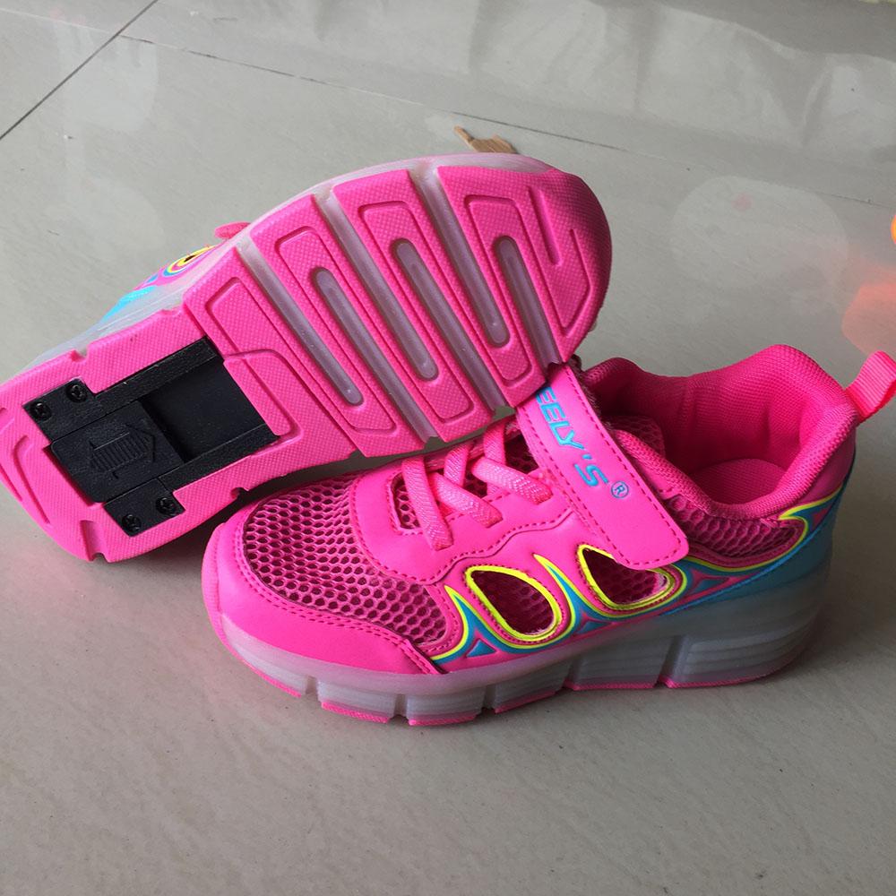 Summer LED Heelys Wheelys wheelie Breathable shoes with wheels girl kids shoes heely zapatillas ruedas roller