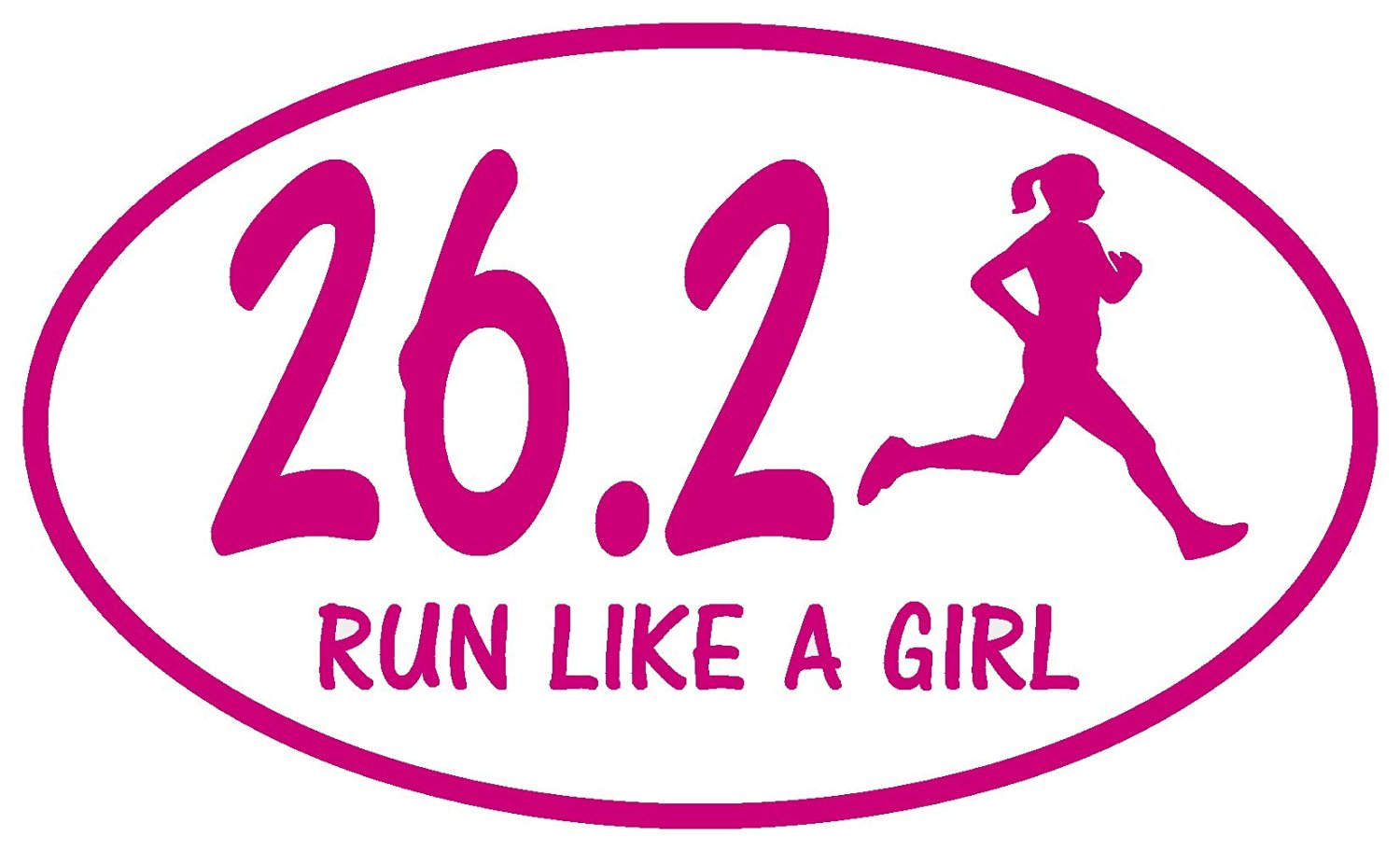 5k run like a girl Pink Oval Half Marathon Run Car Bumper Window Sticker Decal