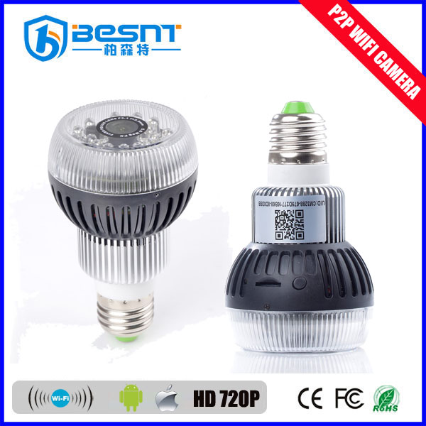 5 Megapixel Wireless hidden camera light bulb wifi p2p long time recording camera support smart phone BS-W12A