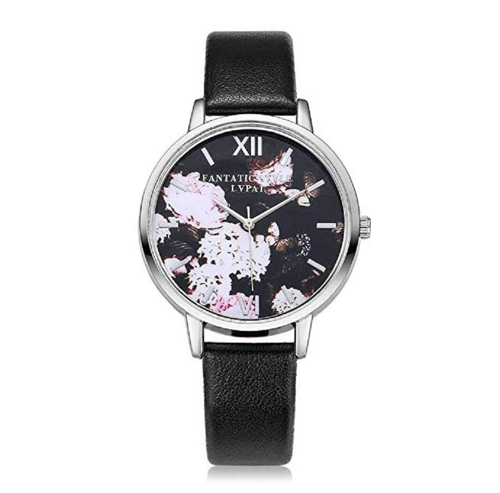 Clearance Sale! Womens Watches,ICHQ Womens Flowers Watches, Unique Analog Fashion Clearance Lady Watches Female watches on Sale Casual Wrist Watches for Women Comfortable PU Leather Watch (Black)