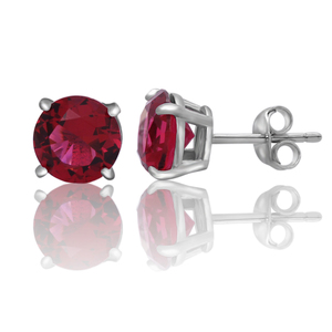POLIVA Stud Earrings Brilliant Cut Round Diamond Cubic Zirconia Solitaire Birthstone 925 Sterling Silver Earring