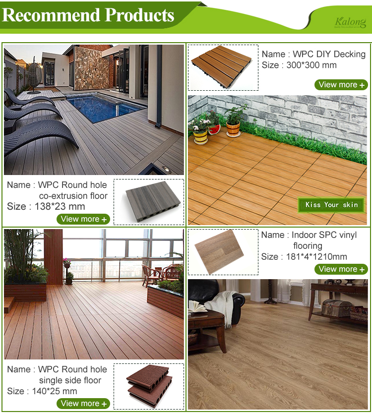 Cheap wpc outdoor co-extrusion waterproof interlocking hollow wood plastic composite decking