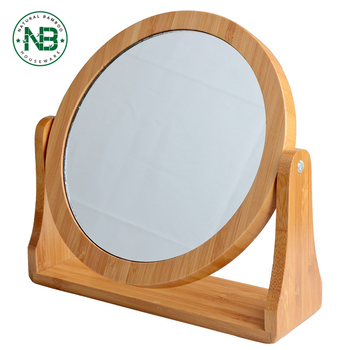 Bamboo Double Sided Swivel Vanity Mirror With 1X /8X Magnification, Tabletop  Makeup Mirror