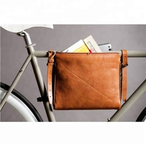 Genuine Leather Men's Handle Clutch Bike Cocument File Bag