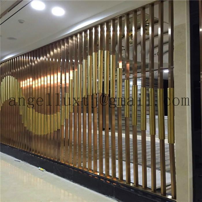 2017 New Design Modern 304 Stainless Steel Tube Decorative Screen Hotel Hall Wall Partition