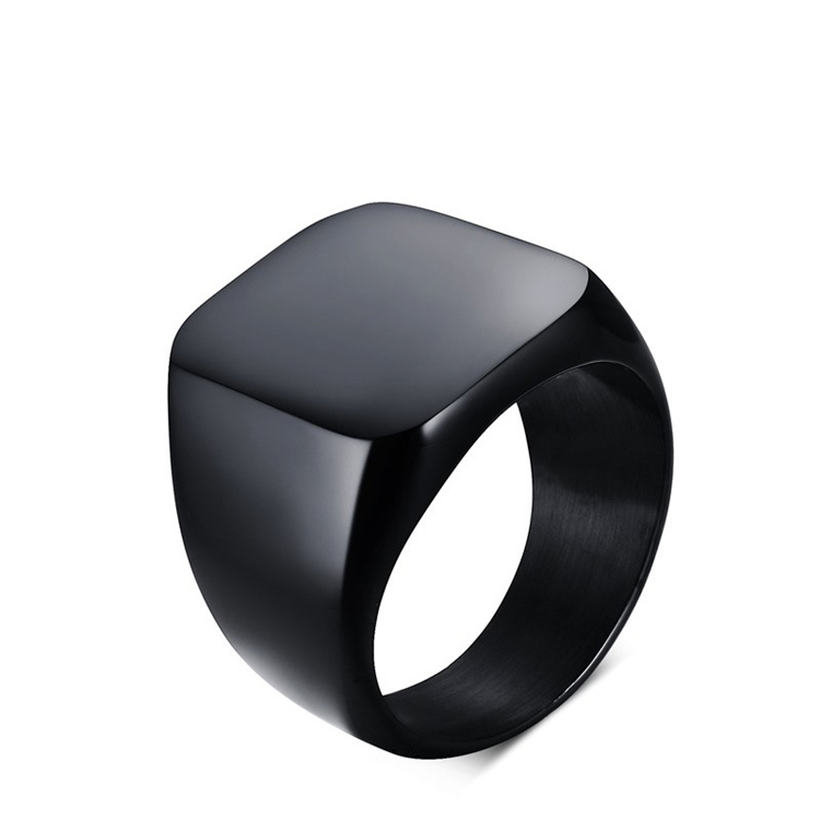 Shopping Online Men's Black Ring Simple Design 18mm Band Titanium Ring Wholesale