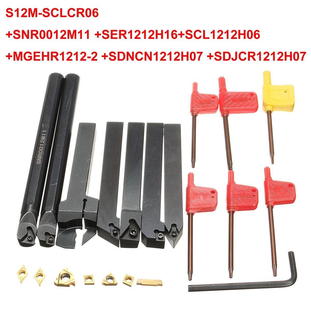 7pcs 12mm Shank Lathe Boring Bar Turning Tool Holder Set With Carbide Inserts