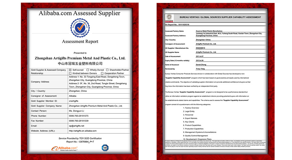 Certificate Zhongshan Artigifts Premium Metal Amp Plastic