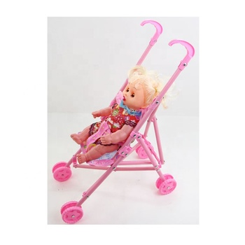 Newborn Baby Girl 12 Inch Cart Doll Kid Toy With Pacifier And Baby Stroller Fat Baby Carriage Cute Dolls Buggy Toys Prams Set