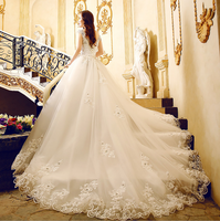 ZH2311G Stunning Lace Appliques Ball Gown Wedding Dresses Off the Shoulder Long Chapel Train Bridal Gown