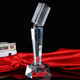 wholesale high-quality blank customizable logo Microphone Crystal Trophy for singing competition business Gift