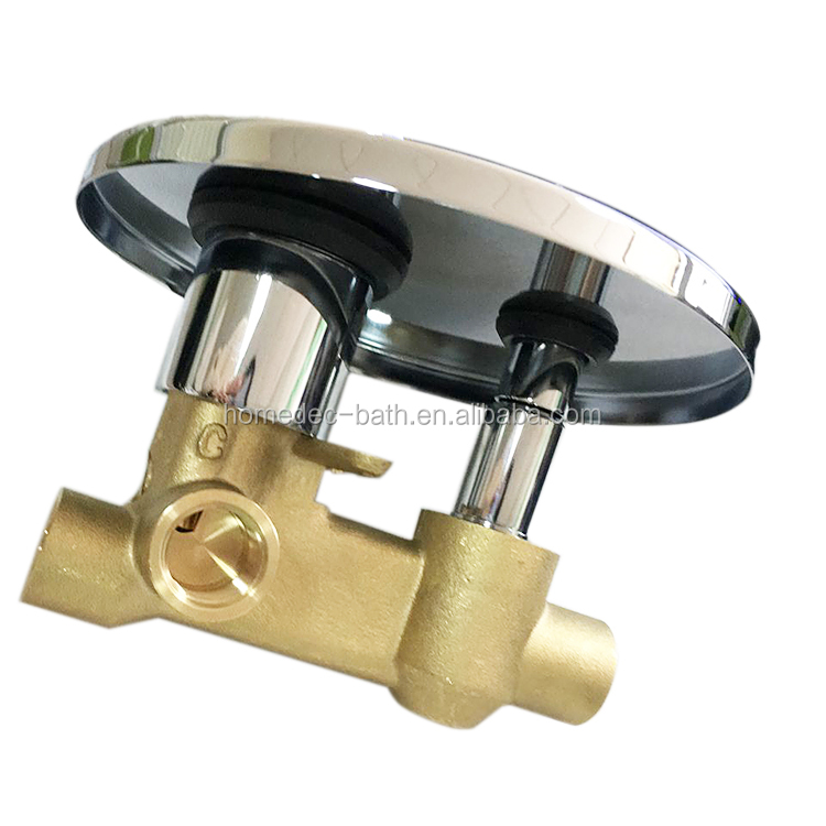 Ceramic dual handles brass concealed shower valve hot cold water mixer