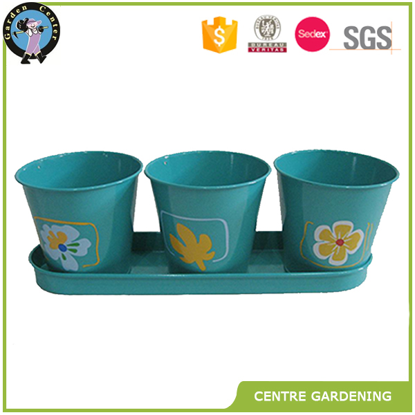 cheap mini galvanized zinc painted garden flower pot