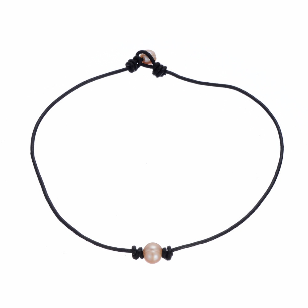 Women Single Pink Pearl Leather Bead Necklace on Genuine Black Leather Cord