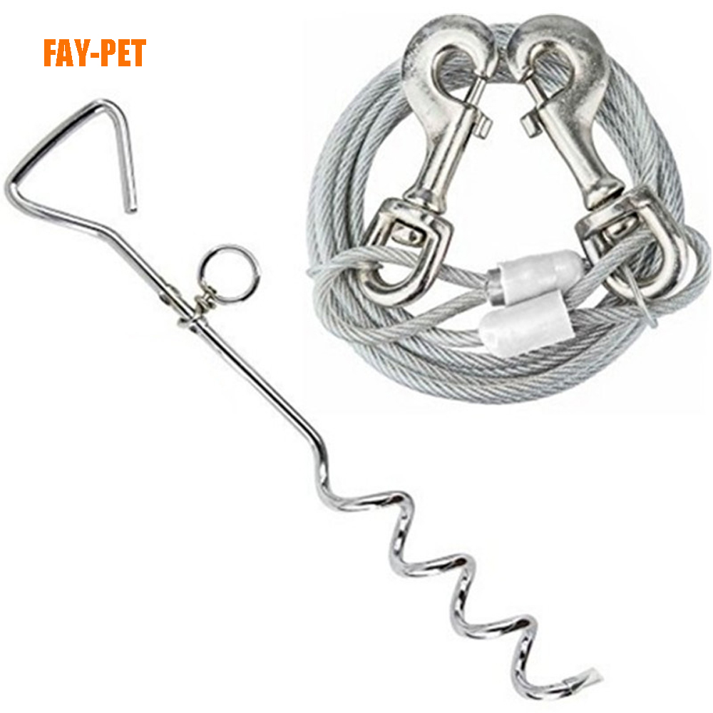 Dog Tie Out Cable stake, double dog leash and stainless steel dog chain