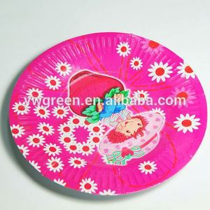 paper disposable plate / theme printed paper plates party paper plates / printed paper party dish Green paper cup