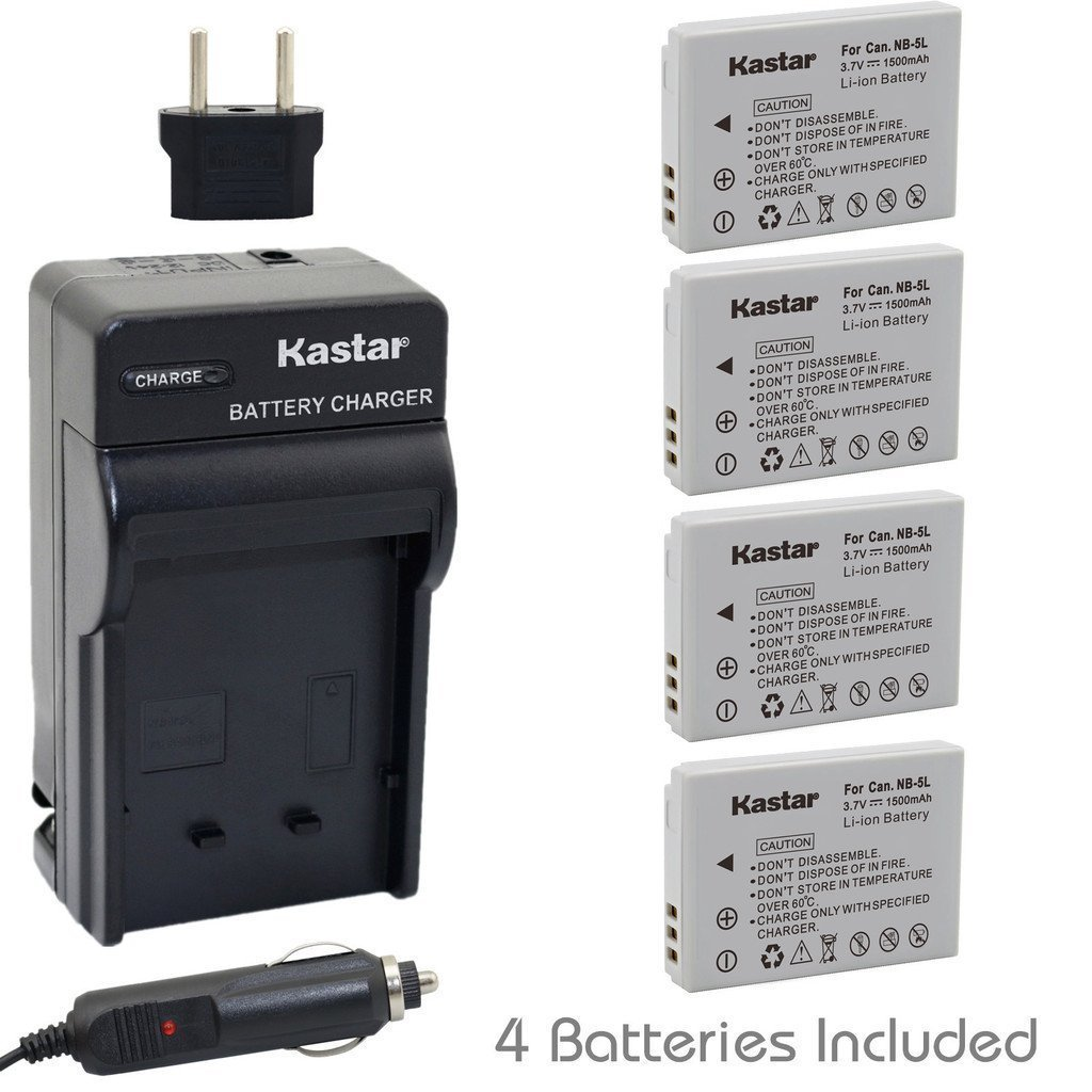 Kastar NB-5L Battery (4-Pack) and Charger for Canon PowerShot S100, S110, SD700, SD790, SD800, SD850, SD870 IS, SD880, SD890, SD900, SD950, SD970 IS, SD990 IS, SX200 IS, SX210 IS, SX220 IS, SX230 HS