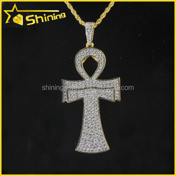 Hot Sale Iced Out Cz Icy Yellow Gold Over Sterling Silver Lab Diamond Ankh  Cross Pendant Charm - Buy Ankh Cross Pendant Charm,Silver Cross
