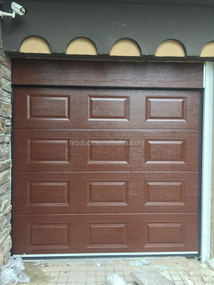 remote control walnut color garage door with good quality