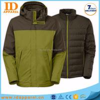 3 in 1 waterproof jacket , custom design man jacket winter
