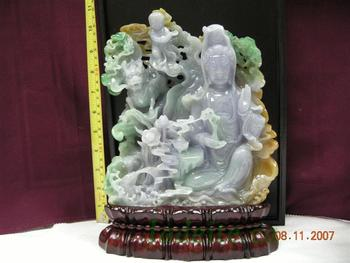 52489627d Grade A Burmese Lavender Jadeite Kwun Yin, Pine Tree And Dragon Jade Carved  Statue
