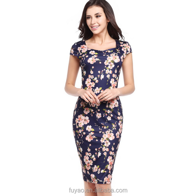 Alibaba.com / 2018 New Elegant floral dress women Feather Bodycon Pencil Sexy Print Summer Dress Women Casual Dresses Plus size Vestidos