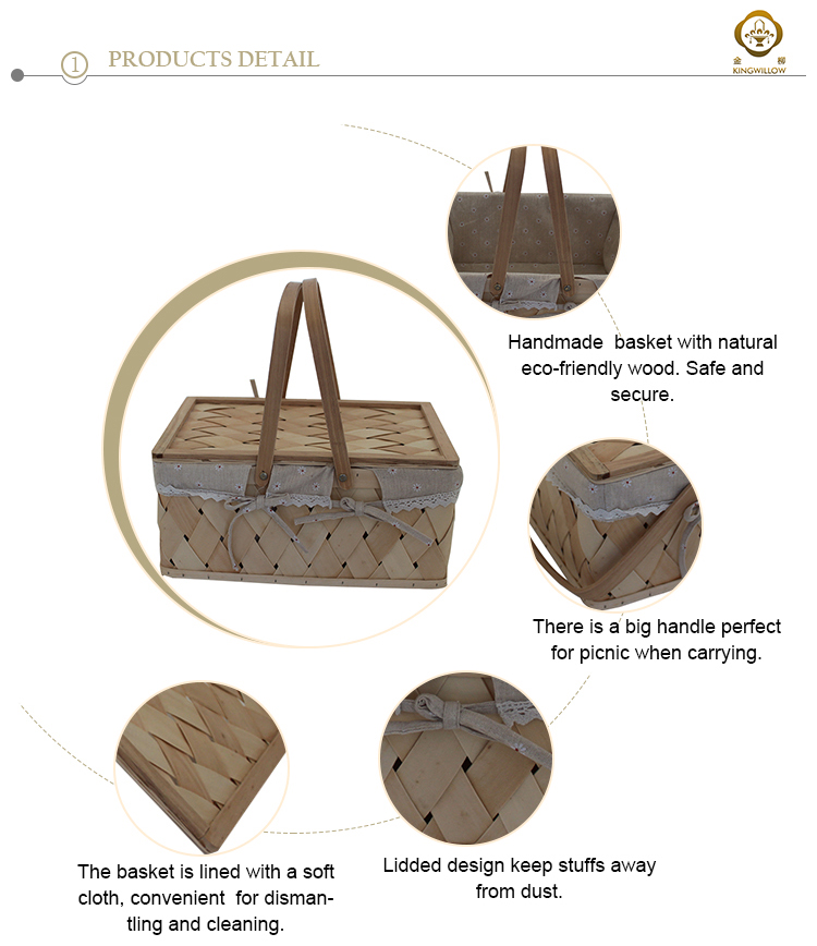 Rectangle wooden picnic basket with double folding handles