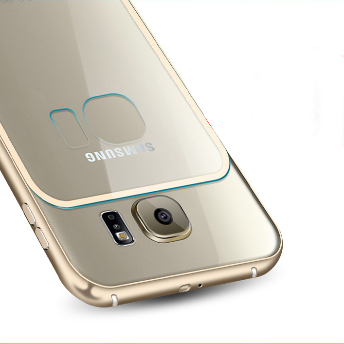 promo code 62d33 c099f Luxury Aluminum Frame Clear Case For Galaxy S6 G920 Hard Metal Acrylic Rim  + Transparent PC Back Cellphone Cover for Samsung S6