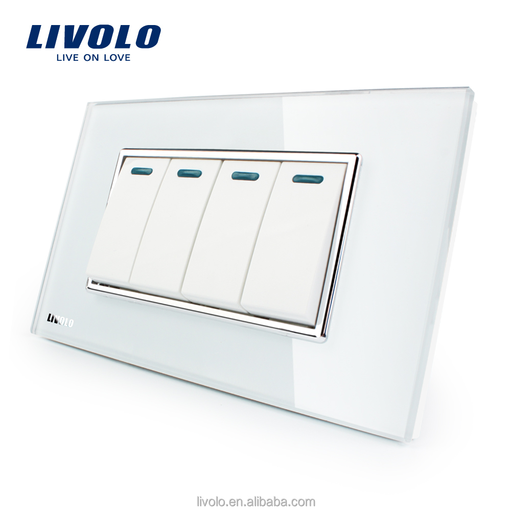 Livolo Manufacturer Luxury White Crystal Glass Panel 4 Gang 2 Way Push Button Home Wall Switch VL-C3K4S-81