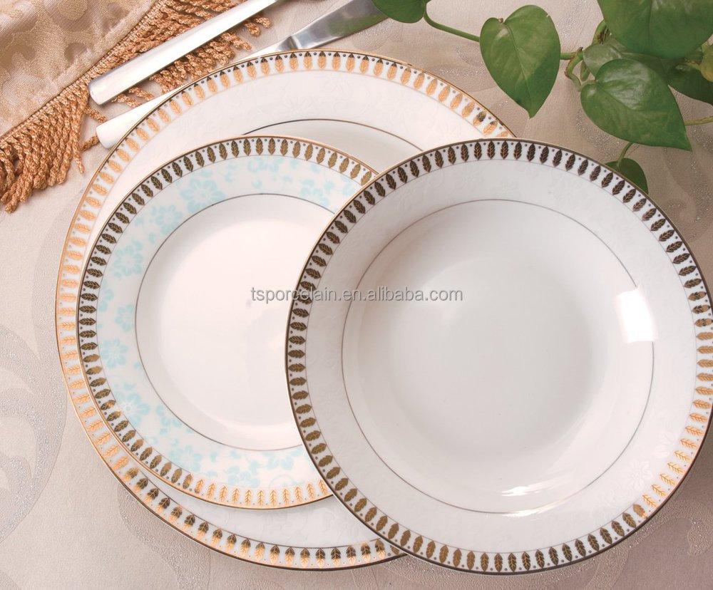 Fine Bone China Gold Rimmed Dinner Plates