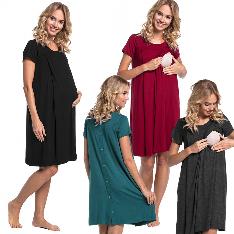 Maternity Nursing  Womens  Breastfeeding Tank Sleep Dress Long Gown for Pregnant Maternity Clothing