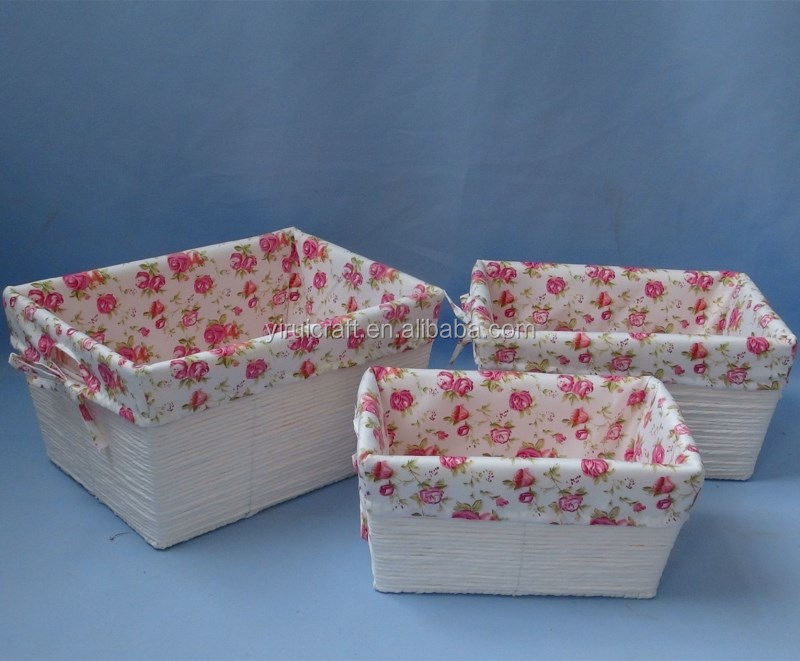 cotton rope and paper rope storage basket set of 3