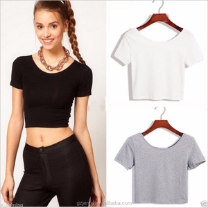 Ladies Basic Plain Short Sleeve Black Custom Crop Top