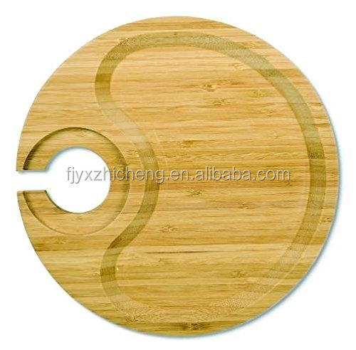 <strong>Natural</strong> Bamboo Appetizer Plate Wholesale Party Plate With Wine Glass Holder: Serve food, coffee or tea