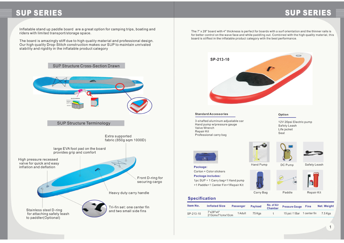 Dubbele Lagen Opblaasbare Stand Up Paddle Sup Board