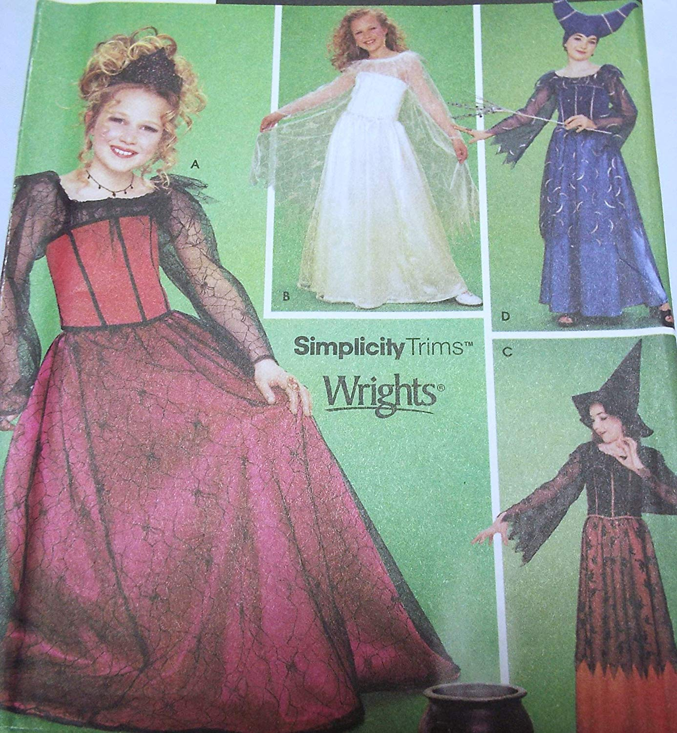f71018c82 Get Quotations · Girls Witch Good and Bad Halloween Costumes Size 7-14  Simplicity 9824 Sewing Pattern