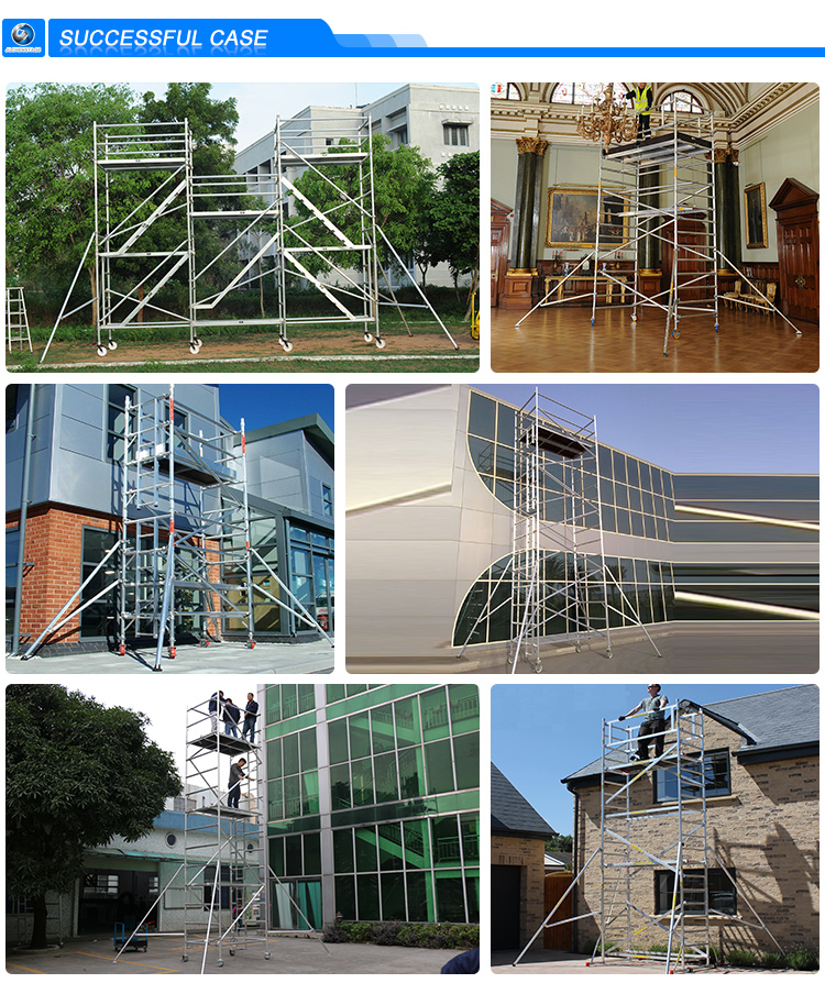 1500KG Loading Capacity Scaffolding Mobile Aluminum Scaffolding Durable Scaffold System For Construction